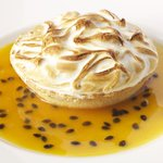 Lime curd meringue tart with passion fruit