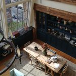 View of dining table from loft