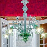 The antique Murano chandelier in the dining room.
