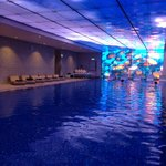 indoor swimming pool at night