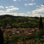 A view from the room overlooking Greve in Chianti and the surrounding hills