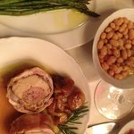 Dinner - rabitt stuffed with sausage, asparagus and white beans