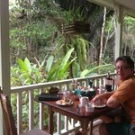 Having breakfast on the front deck