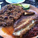 My Creole style Grouper with red beans & rice