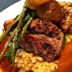 grilled pork tenderloin medallians, barley