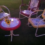 patio furniture for lounging as you wait for your table, fresh flowers from the farm in mason ja