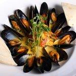 Saffron Cream Mussels and Prawns