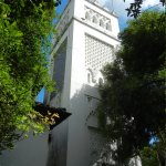 The minaret-shaped bell tower