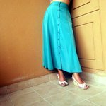 Gorgeous teal vintage-style high waisted skirt