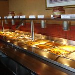 The part of the buffet with the warm dishes