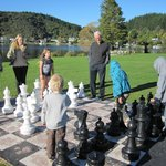 Chess on the lawn entertains the family
