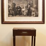 1st edition engraving of the signing of the Emancipation Proclamation and Federal Hall Desk