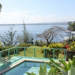 View from terrace over swimming pool looking towards Hilo