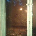 Sellotape-sealed window