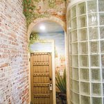 San Francisco de Asis entry foyer and curved bathroom wall