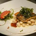 Dover fresh sea bass on buttered white beans