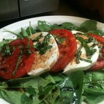 Caprese Salad on Baby Spinach