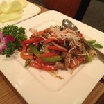 stirfried duck meat with veggies