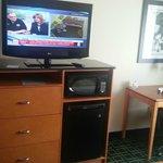 Nice work space plus TV/Microwave/Fridge.