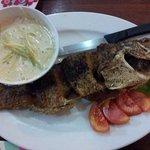 Deep fried fish with mango sauce