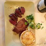 Half Entrecote half Onglet with Shallots with Dauphinoise