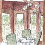 Susan's watercolor of the turret table in the dining room