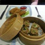 Pork dumplings and spring rolls