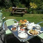 our garden with afternoon tea