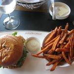 Buffalo Burger and Sweet Potato Fries....YU-UM!