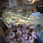 Deli counter with wonderful French violet garlic.