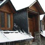 Vista de los apartamentos en invierno