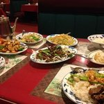 Family style: mongolian beef, veg chow mein, snow white chicken, sweet & sour pork, rice & pot s