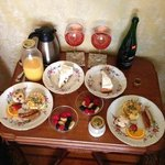 The breakfast delivered to our room (we brought the non-alcoholic poinsetta drinks)