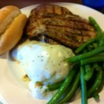 Grilled pork chops, green beans and mashed potatoes