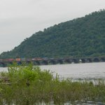 Train going over the Susquehanna river