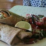 BBQ pork wrap & watermelon salad