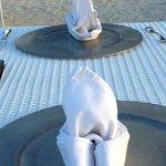 Eny (the server) showed us three ways of folding napkins!