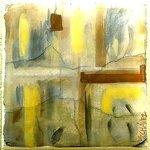 Abstract fresco on concrete slab at La Una Restaurant