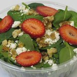 Spinach Feta Salad w/ Strawberries and Walnuts