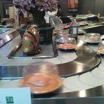 Love the conveyor of sushi.  Too fun!