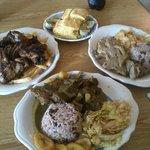 Jerk Chicken with Fries, Cornbread, Curry Goat & Cuban Roasted Pork