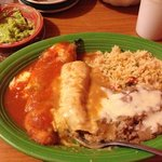 stuffed chile with enchilada n rice n beans