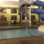 Water slide, kid pool, hot tub.