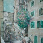 Старинная церковь на картине