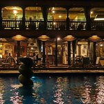 nightview of pool and bar