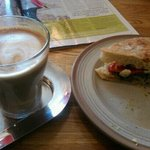 Delicious coffee and sandwich at Massaro's