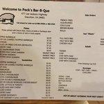 peck's BBQ menu