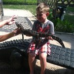 holding a gator before the ride!
