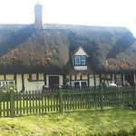 outside front thatched roof building