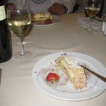 Dessert and wine for dinner